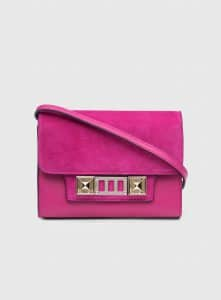 Proenza Schouler Peony Plum Leather/Suede PS11 Wallet On A Strap Bag