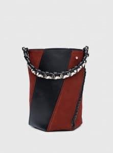 Proenza Schouler Red Plum/Black/Clay Leather/Suede Hex Medium Bucket Bag