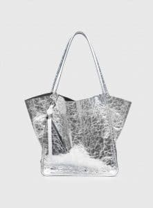 Proenza Schouler Silver Metallic Leather Extra Large Tote Bag