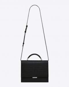 Saint Laurent Black Crocodile Embossed Medium Babylone Top Handle Bag