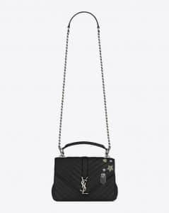 Saint Laurent Black Matelasse Medium College Pin Bag