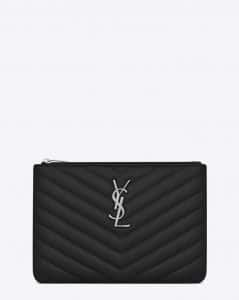 Saint Laurent Black Matelasse Monogram Pouch Bag