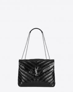 Saint Laurent Black Y Matelasse Medium Loulou Chain Bag