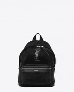 Saint Laurent Black/Silver Sequins and Leather Mini City Backpack Bag