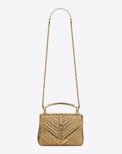 Saint Laurent Bronze Cracked Metallic Medium College Bag