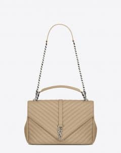 Saint Laurent Dark Beige Matelasse Large College Bag