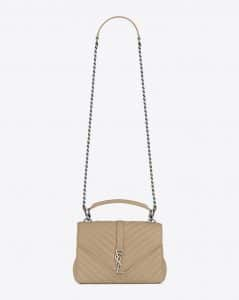 Saint Laurent Dark Beige Matelasse Medium College Bag