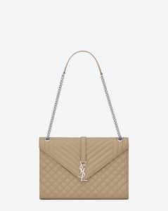Saint Laurent Dark Beige Mixed Matelasse Large Envelope Chain Bag