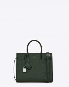 Saint Laurent Dark Green Crocodile Embossed Baby Sac De Jour Bag
