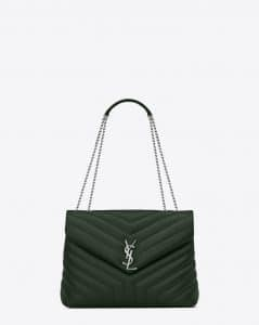 Saint Laurent Dark Green Y Matelasse Medium Loulou Chain Bag