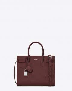 Saint Laurent Dark Red Crocodile Embossed Baby Sac De Jour Bag