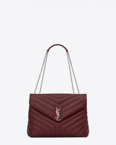 Saint Laurent Dark Red Y Matelasse Medium Loulou Chain Bag