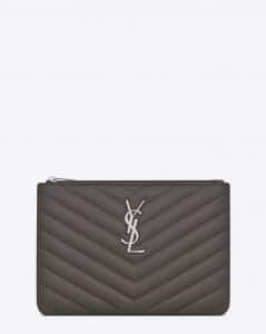 Saint Laurent Earth Grey Matelasse Monogram Pouch Bag
