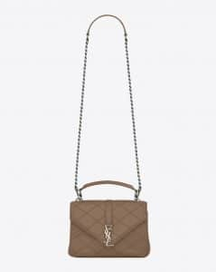 Saint Laurent Taupe Diamond Matelasse Medium College Bag