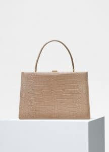 Celine Beige Crocodile Medium Clasp Bag