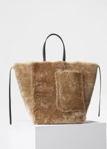 Celine Beige Shearling Large Cabas Phantom Bag