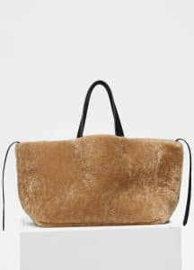 Celine Beige Shearling Small Soft Cabas Phantom Bag