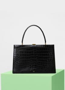 Celine Black Crocodile Medium Clasp Bag