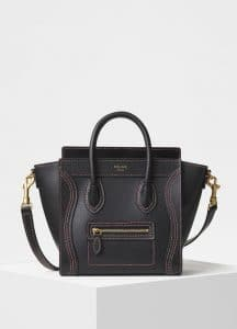 Celine Black Shiny Smooth Calfskin Nano Luggage Bag