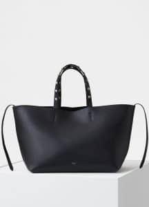 Celine Black Studded Handle Small Soft Cabas Phantom Bag