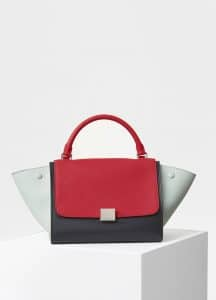 Celine Bright Red Bullhide Calfskin Small Trapeze Bag