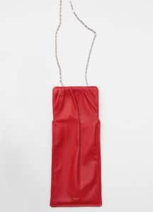 Celine Bright Red Small Vertical Ruched Bag