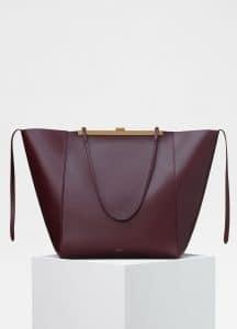 Celine Burgundy Cabas Clasp Bag