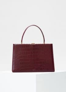 Celine Burgundy Crocodile Medium Clasp Bag