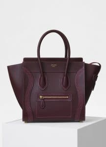 Celine Burgundy Shiny Smooth Calfskin Micro Luggage Bag