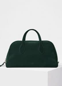 Celine Dark Green Suede Medium Bowling Bag