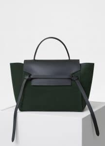 Celine Dark Green Suede Mini Belt Bag