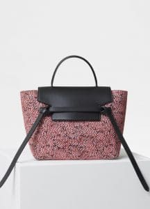 Celine Dark Pink Fuzzy Jacquard Micro Belt Bag