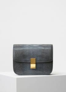 Celine Dark Taupe Lizard Medium Classic Box Bag
