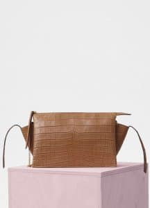 Celine Light Tan Matte Crocodile Python Tri-Fold Clutch on Chain Bag