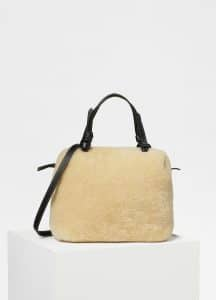 Celine Natural Shearling Small Soft Cube Bag