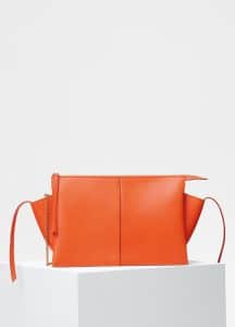 Celine Orange Tri-Fold Clutch on Chain Bag