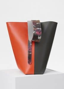 Celine Orange/Stone Shiny Smooth Calfskin/Painted Watersnake Small Twisted Cabas Bag