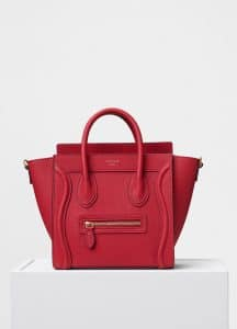 Celine Red Baby Drummed Calfskin Nano Luggage Bag