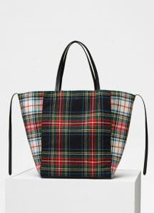 Celine Red/Blue Tartan Felt Medium Cabas Phantom Bag