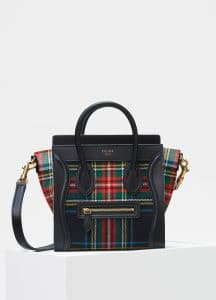 Celine Red/Blue Tartan Felt Nano Luggage Bag