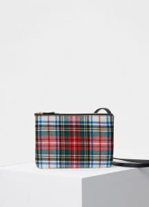 Celine Red/Blue Tartan Felt Trio Bag