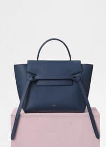 Celine Steel Blue Grained Calfskin Micro Belt Bag