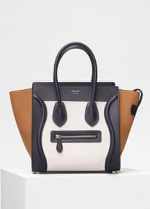 Celine White Bullhide Calfskin Micro Luggage Bag