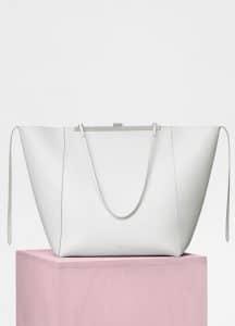 Celine White Cabas Clasp Bag