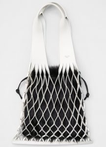 Celine White/Black Calfskin:Shearling Medium Net Bag