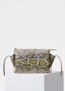 Celine Yellow Painted Python Tri-Fold Clutch on Chain Bag