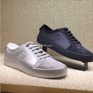 Chanel Gray and Blue Calfskin/Velvet Sneakers