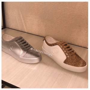 Chanel Gray and Chanel White/Beige/Gold Calfskin/Tweed Sneakers