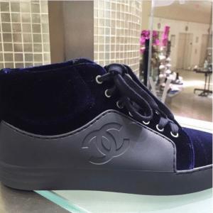 Chanel Gray/Blue Calfskin/Velvet High Cut Sneakers