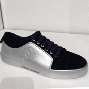 Chanel Silver/Blue Calfskin/Velvet Sneakers